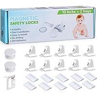 Magnetico, chiusura di sicurezza a prova di bambino blocca armadio armadietti e cassetti a prova facile da installare senza attrezzi o trapano–10serrature + 2chiavi.R Baby.