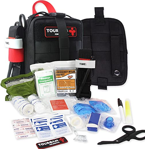 IFAK Med Trauma Kit, Molle Tactical Emergency First Aid Kit Survival Military, Rip-Away Field Dressing Kit with Tourniquet for Camping Hiking Bug Out