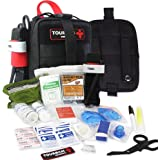 IFAK Med Trauma Kit, Molle Tactical Emergency First Aid Kit Survival Military, Rip-Away Field Dressing Kit with Tourniquet fo