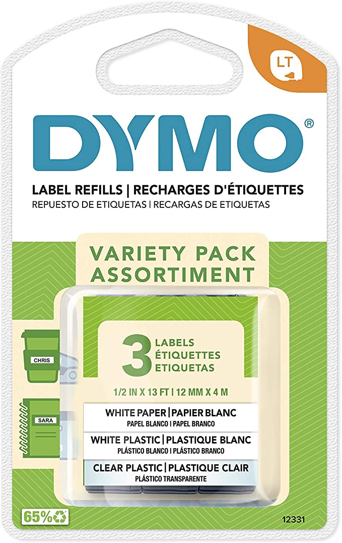 997058 1x Plastic Labels Dymo LetraTag 91201 Black on White