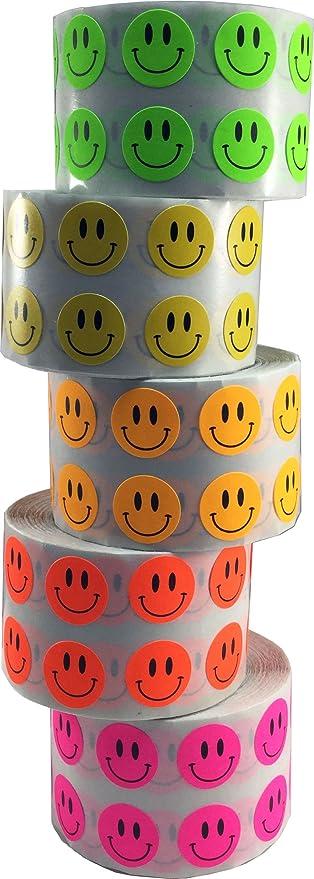 1000 Etiquetas de Cada Color en un Rollo Circulo Punto Pegatinas Paquete de 5 Colores Fluorescentes 13 mm 1//2 Pulgada Redonda