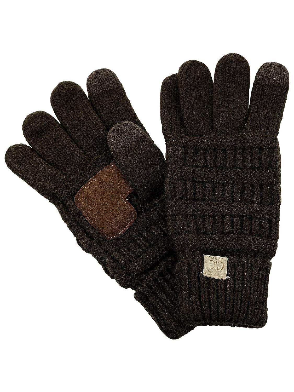C.C. Kids' Children's Cable Knit Warm Anti-Slip Touchscreen Texting Gloves Denim G20 KIDS-DENIM