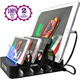 USB Charging Station - Fast Charging Dock - 4-Port - Cell Phone Tablet IPad IPhone Docking Station for Android IOS Devices - Multiple Charging Station - Charger Dock - Multi Charging Station Organizer