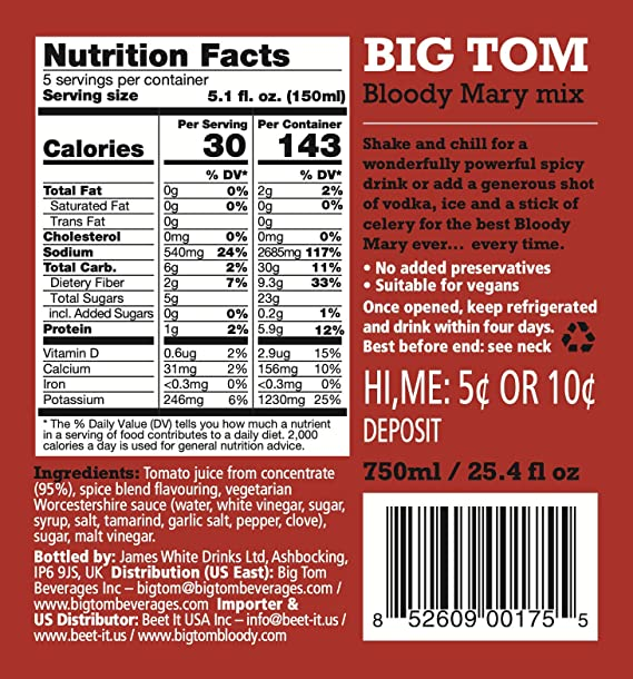 Amazon Com Big Tom Bloody Mary Mix 2 Pack Non Gmo Vegan Gluten Free 70 Percent Less Salt All Natural No Preservatives 750ml 25 4 Fl Oz Glass Bottles Grocery Gourmet Food