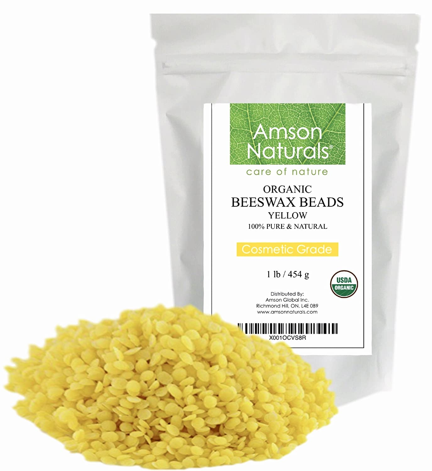 BEESWAX PELLETS YELLOW 16oz/1lb -USDA Organic - by Amson Naturals –100% Pure & Natural Premium Quality Beeswax- 3 x Filtered, Natural mild sweet Aroma, Easy Melt Pastilles- for DIY, Candles, Skin Care, Lip Balm, Lotion, Deodorant, Furniture Polish, Cra