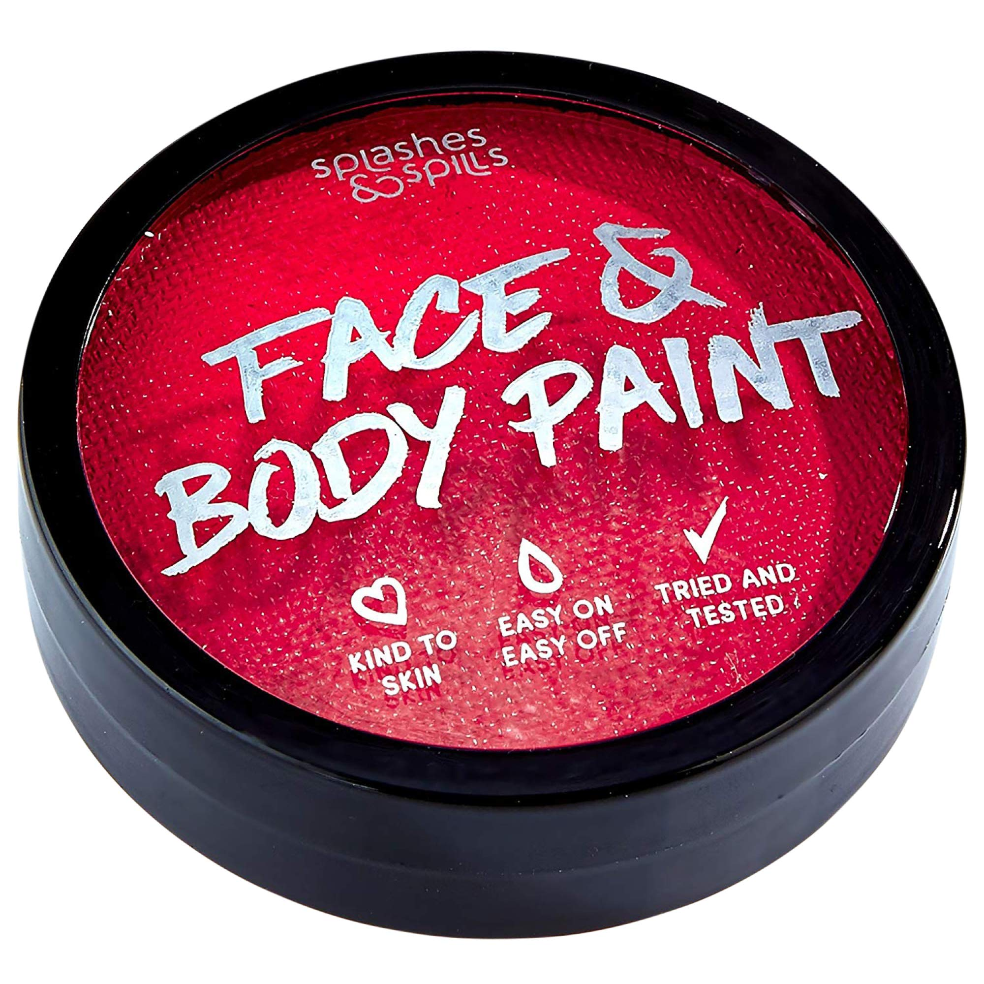Water Activated Face and Body Paint - Red, 18g Cake Tub - Pretend Costume and Dress Up Makeup by Splashes & Spills by Splashes & Spills