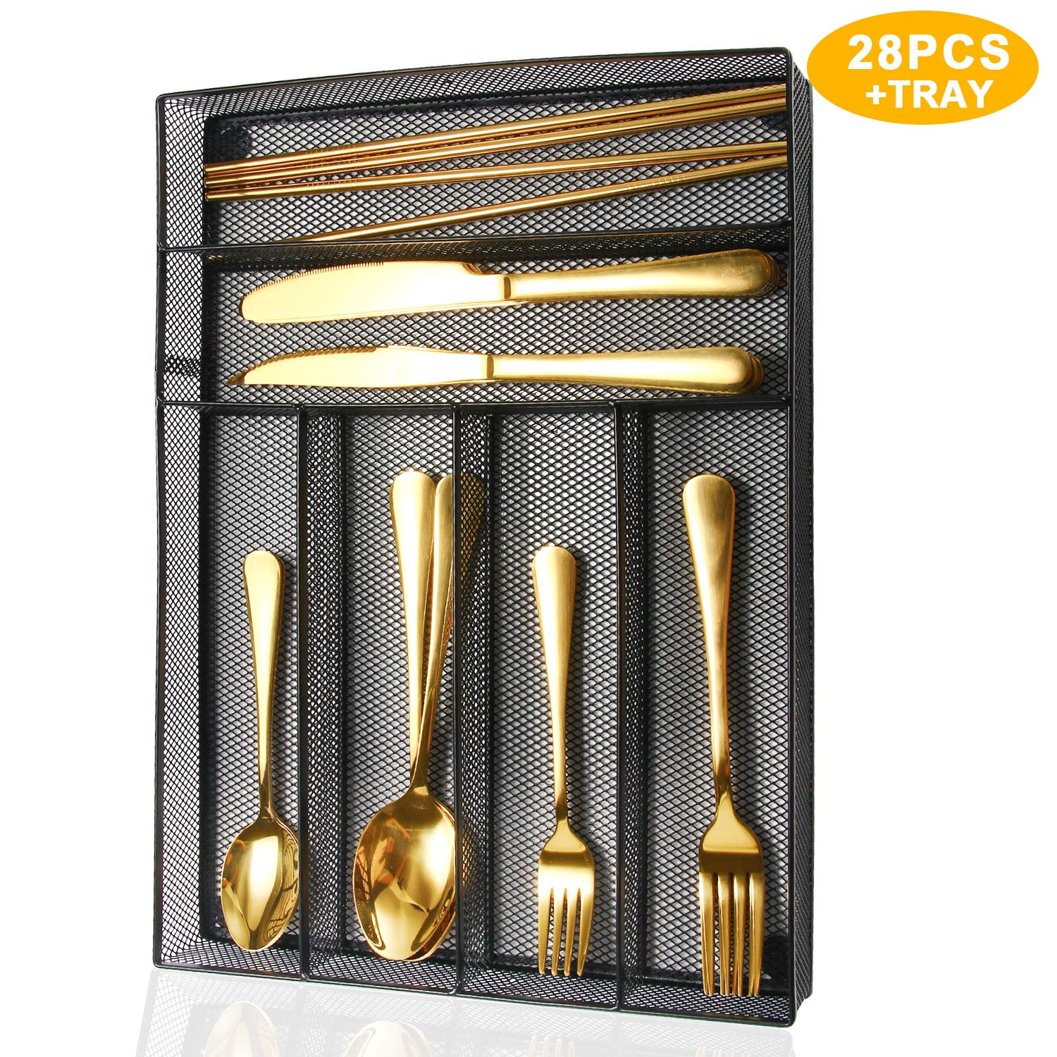 WOAIWO-Q Silverware Set,28 PCS Stainless Steel Cutlery for 4 People,Flatware With Wire Mesh Holder Storage Trays Mirror Polish,Dishwasher Safe,Include Knife/Fork/Spoon/Straw (Gold)