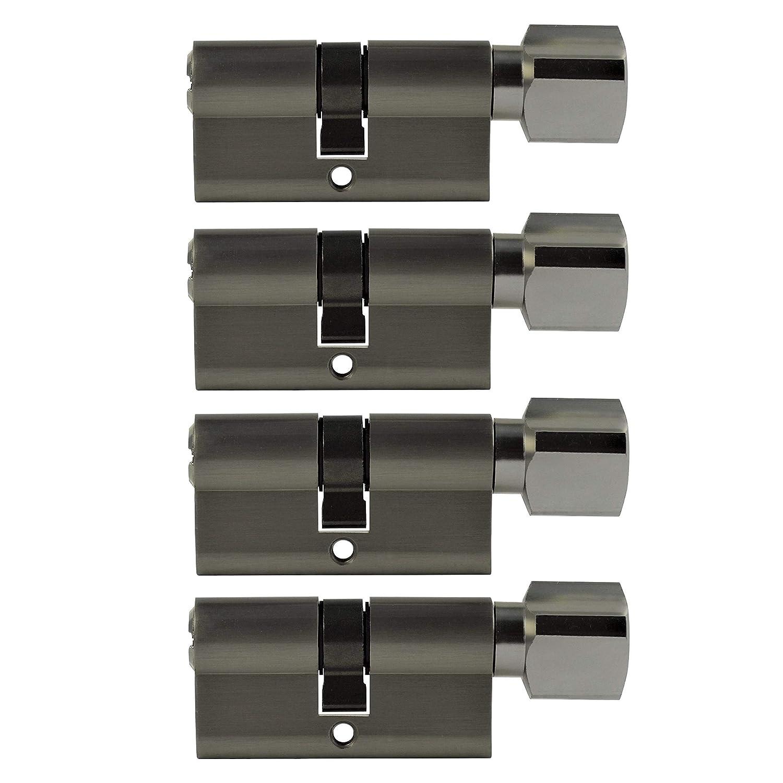 3x Zylinderschloss gleichschlie/ßend 60 mm PZ mit jeweils 5 Wendeschl/üssel f/ür ein Schloss 30x30 mm