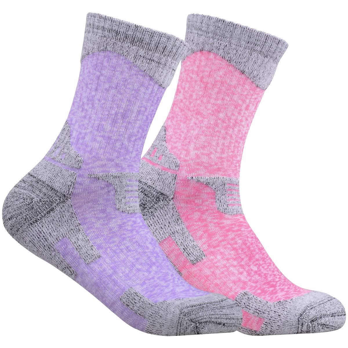 YUEDGE Women's 2 Pack Multi Performance Outdoor Sports Hiking Trekking Running Cushion Cotton Crew Socks(Assortment Purple Red)