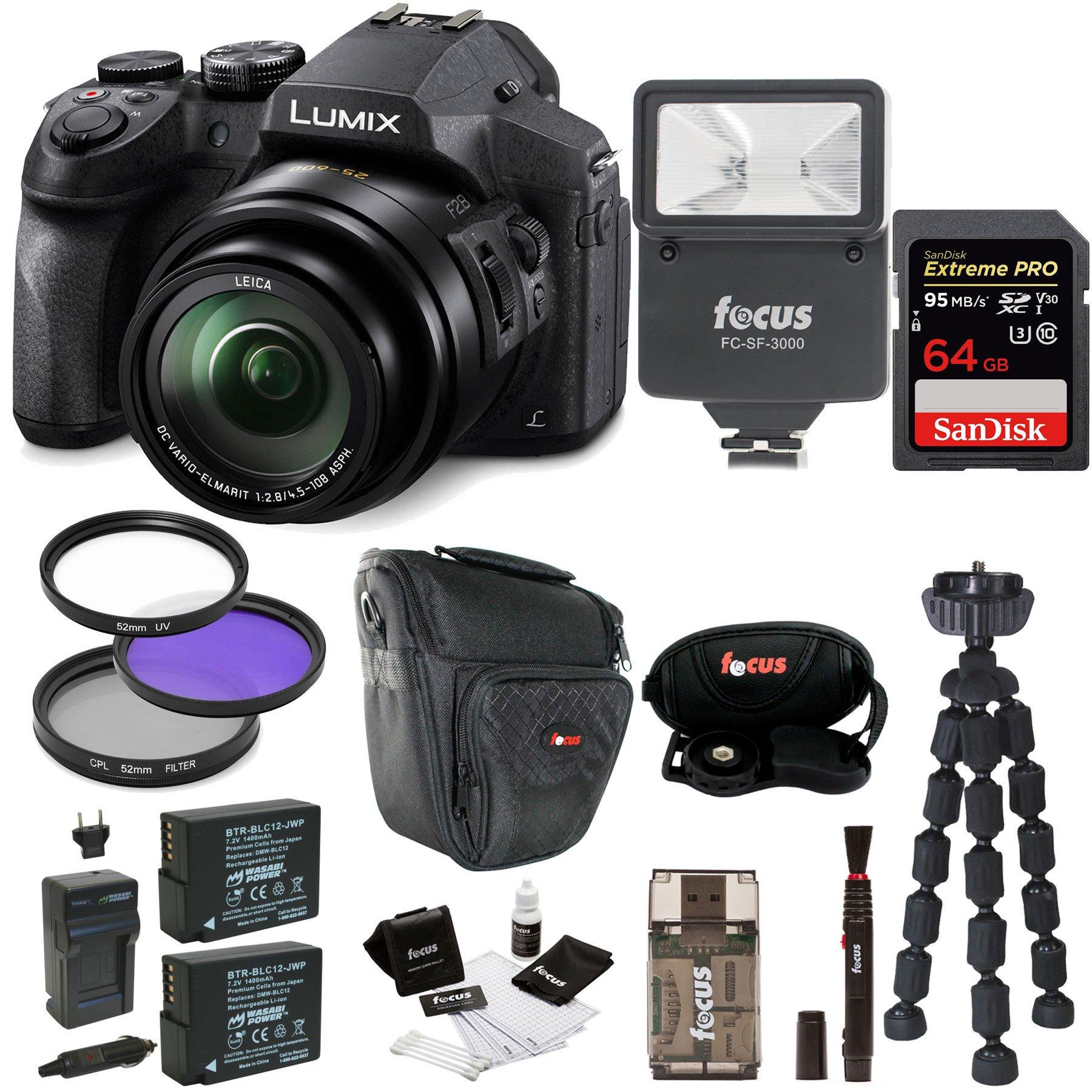 Panasonic DMC-FZ300K Digital Camera with Digital Slave Flash and 64GB Card Bundle