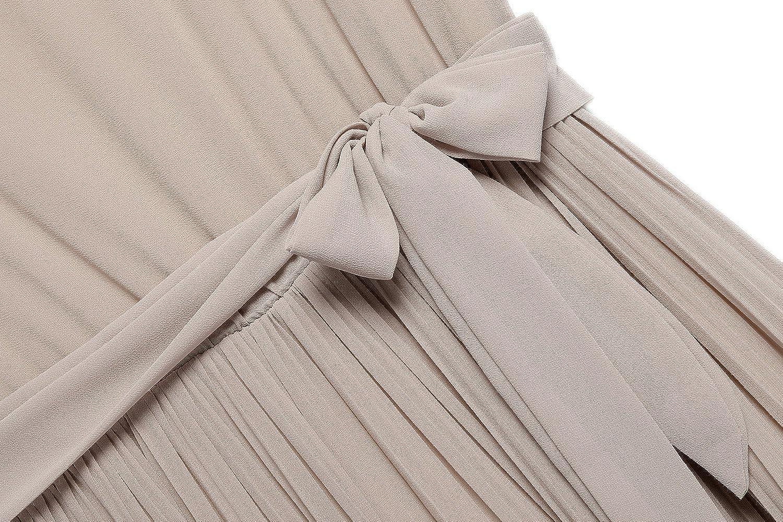 ACEVOGWomen Sleeveless Pleated Strapless A-line Chiffon Loose Skirt Mini Dress