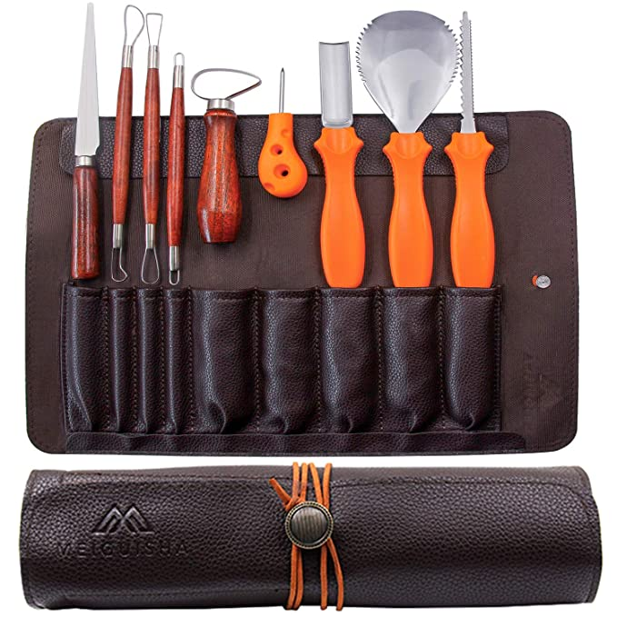 Mei Gui Sha 10 Pieces Professional Wooden Pumpkin Carving Tools Kit Kit 13 Cuts, Scoops, Scrapers, Saws, Loops, Knives With Reusable Pu Case Set, Knives With Reusable Pu Case Set by Mei Gui Sha