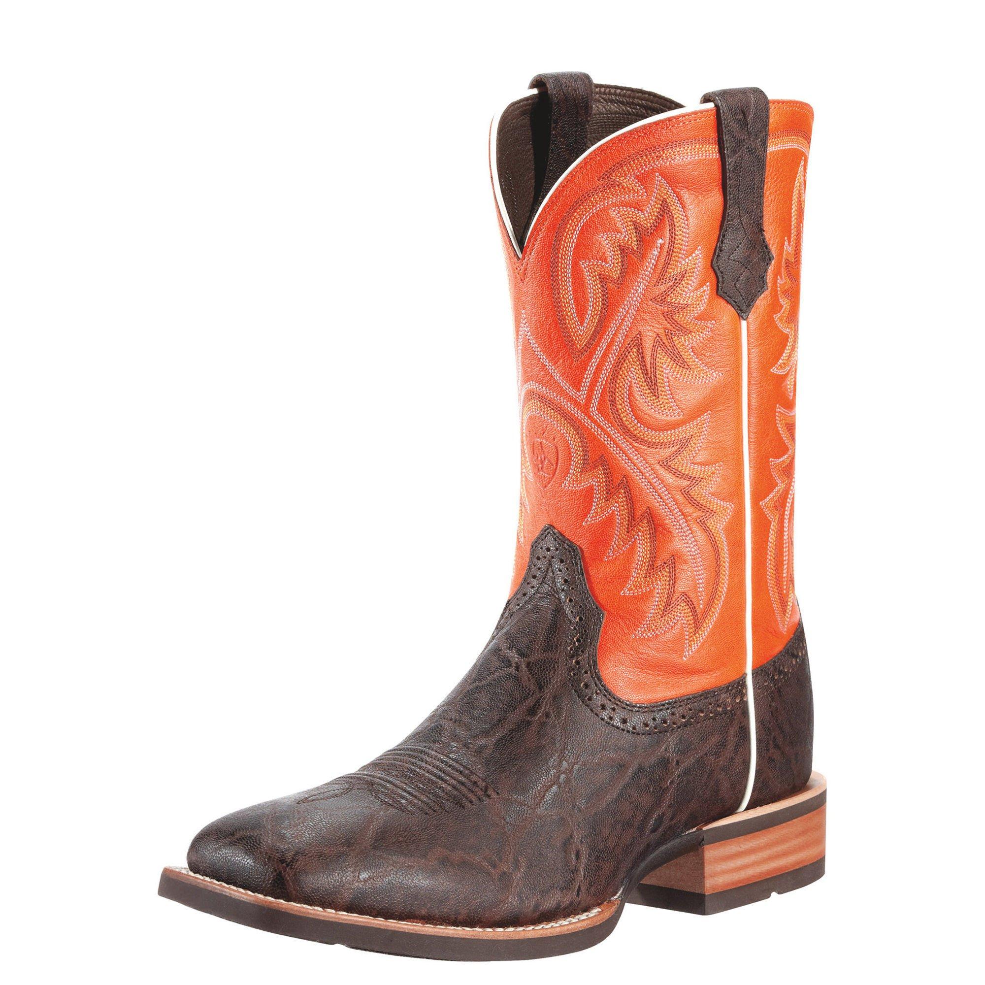 Ariat Men's Quickdraw Western Cowboy Boot, Chocolate Elephant/Mandarin, 10.5 2E US