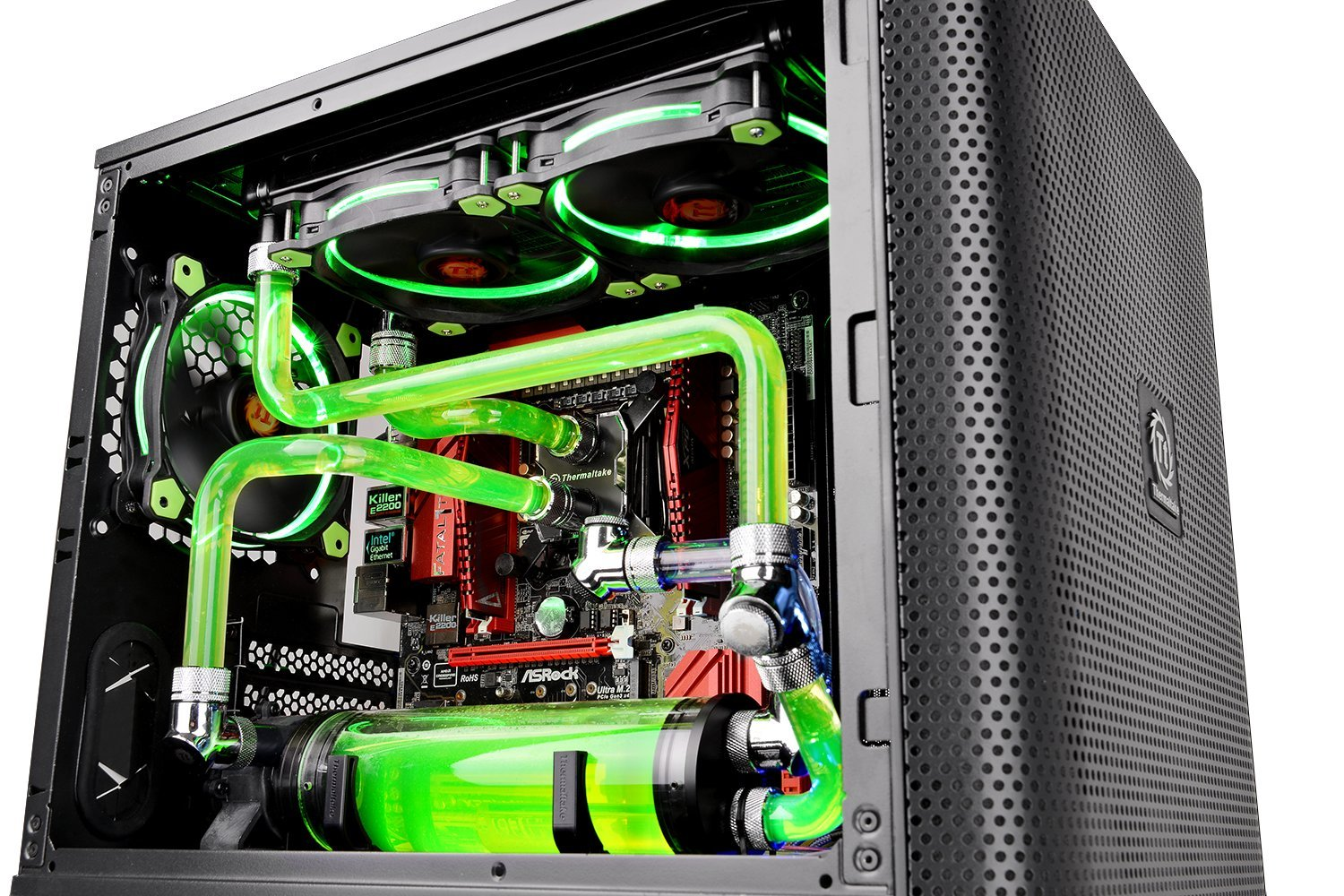Thermaltake Core V21 SPCC Micro ATX, Mini ITX Cube Gaming Computer Case Chassis, Small Form Factor Builds, 200mm Front Fan Pre-installed, CA-1D5-00S1WN-00 by Thermaltake (Image #7)