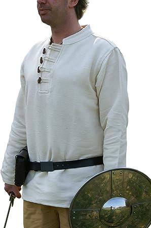 Battle Merchant Camisa Medieval difícil de algodón con Botones de Madera handgewebt Natural, Medieval, Vikingo: Amazon.es: Deportes y aire libre
