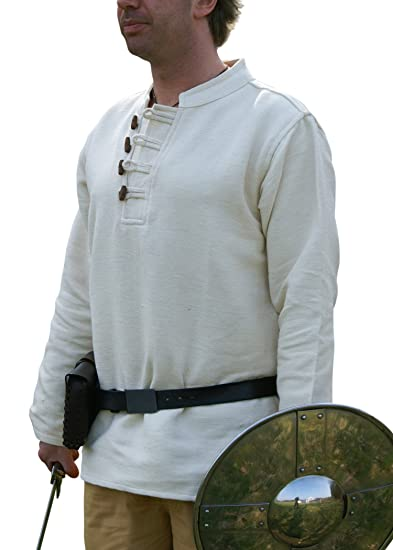 Battle Merchant Medieval Shirt Heavy Cotton With Wooden Buttons