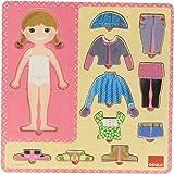 Goula - Vestir niña, puzzle 10 piezas de madera (Diset 53108)