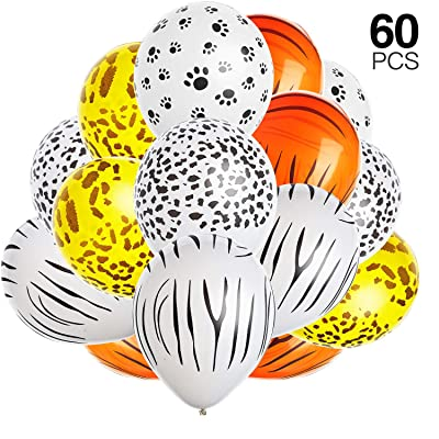 60 Pieces Jungle Animal Print Balloons Leopard Spots Latex Balloons Tiger Leopard Cow Zebra Balloons Jungle Zoo Animals Balloon for Birthday Party Decoration: Toys & Games