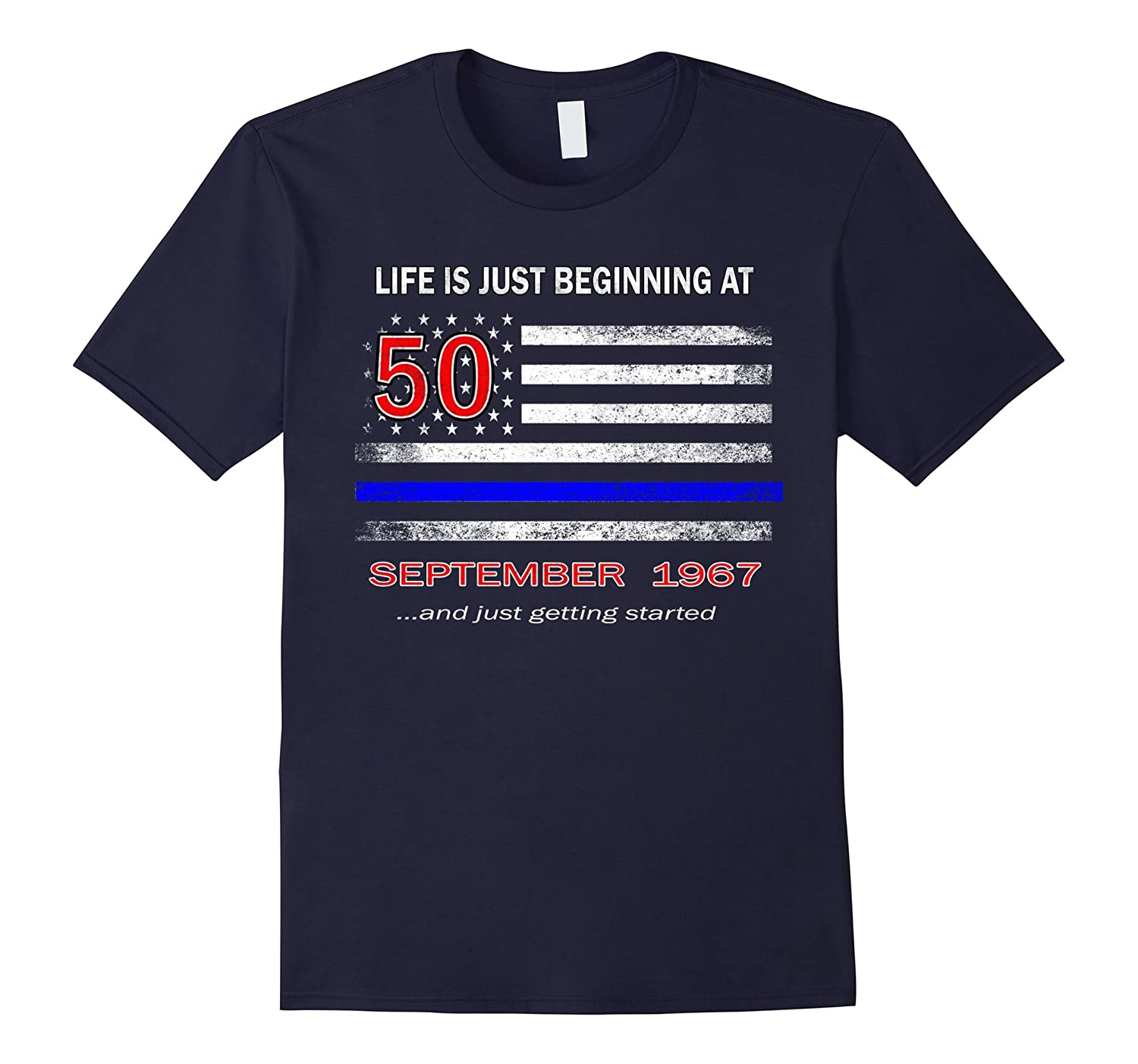 50th Birthday Shirt Life is Just Beginning September 1967-Art
