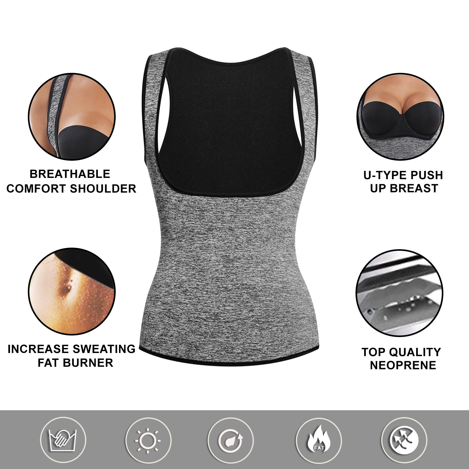 8f40c0c2197 Joyshaper Sweat Vest for Weight Loss Women Slimming Sauna Suit Waist  Trainer Trimmer Tummy Tank Top ...
