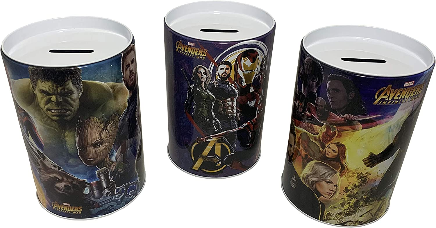 Coin Collecting and Money Saving The Tin Box Company Set of 3 Avengers Saving Banks for Kids