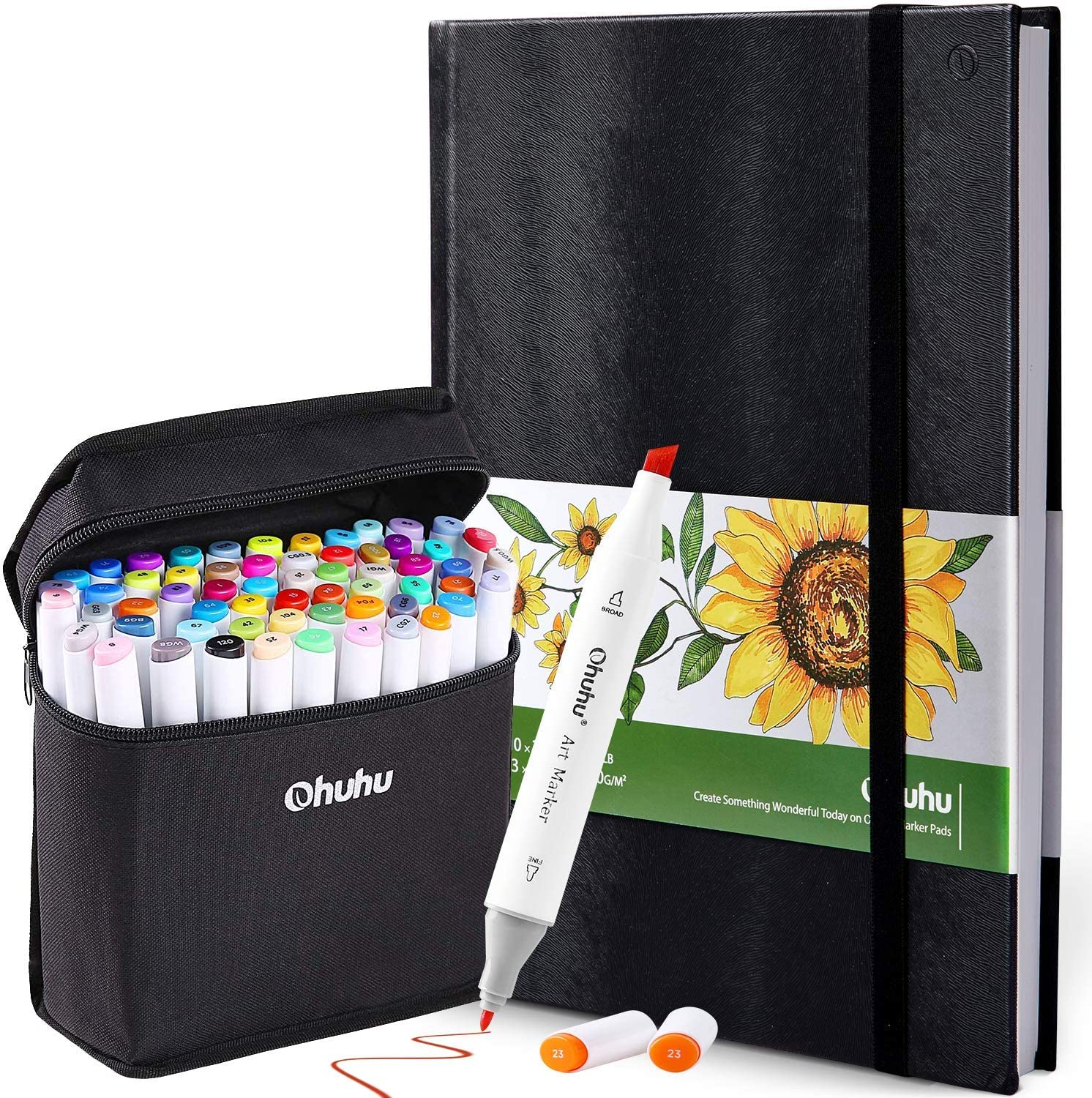 """Ohuhu 48 Colors Alcohol Brush Markers (Brush & Chisel, Bonus 1 Colorless Blender) + 8.3"""" ×11.7"""" Marker Pads Art Sketchbook, 120LB/200GSM Heavy Smooth Drawing Papers, 78 Sheets/156 Pages"""