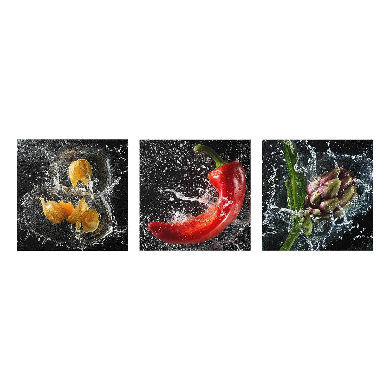 Bilderwelten Glasbild - Paprika Artischocke Physalis Splash 3-teilig, Größe HxB  3X 30x30cm