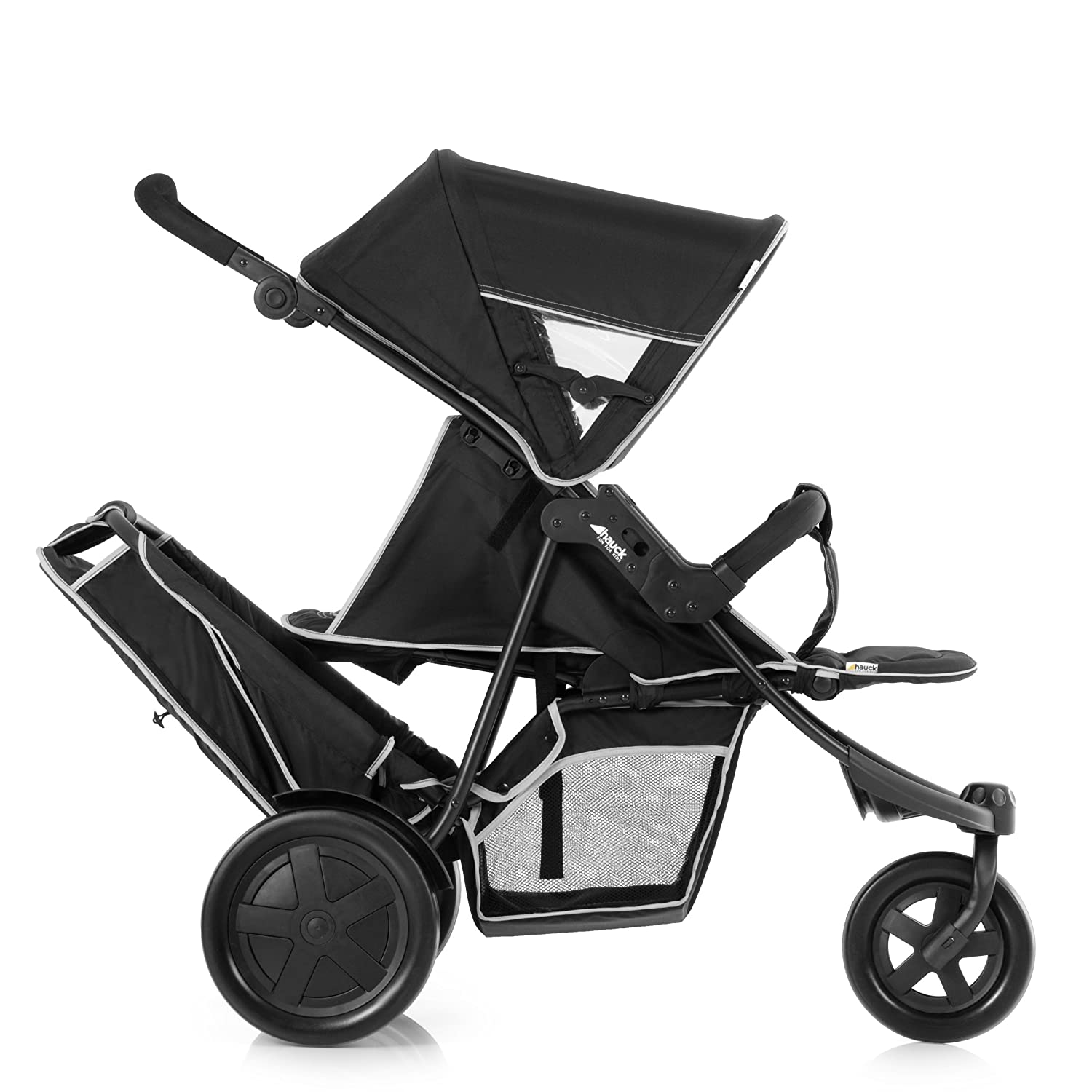 Hauck Freerider, From Birth, Tandem Double Buggy with Raincover - Black H-51304-EN-000-000