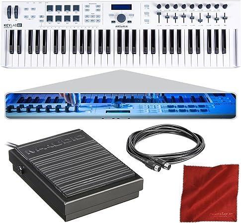 Arturia KeyLab Essential 61 - Controlador MIDI universal y software con pedal de sustain + cable MIDI + gamuza de fibra