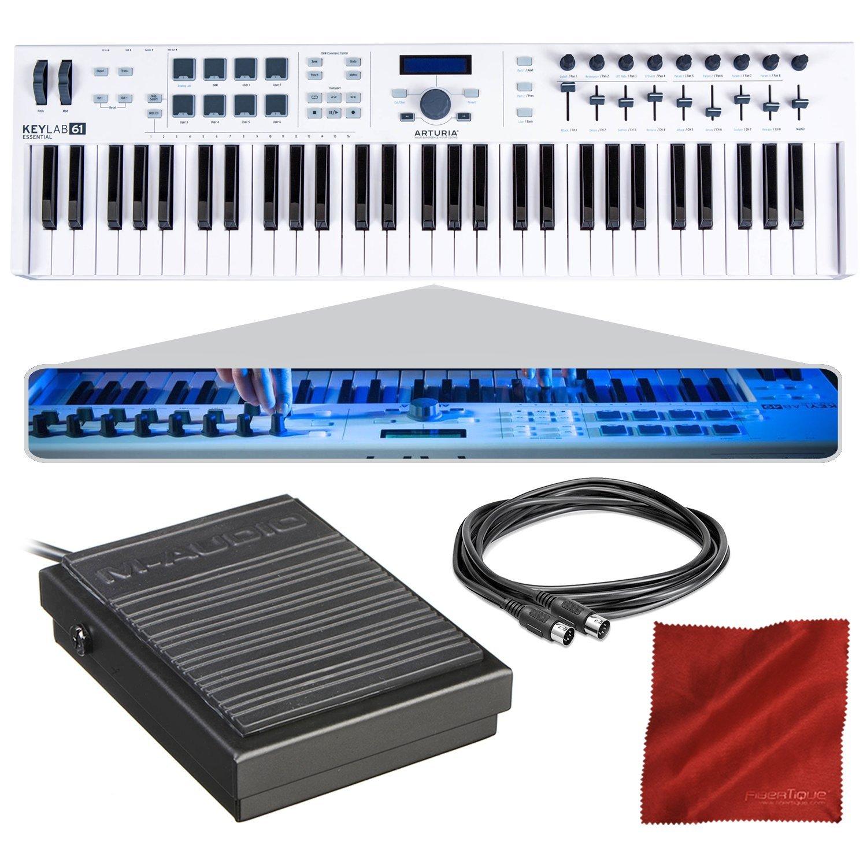 Arturia KeyLab Essential 61 Universal MIDI Controller and Software with Sustain Pedal + MIDI Cable + Fibertique Cloth