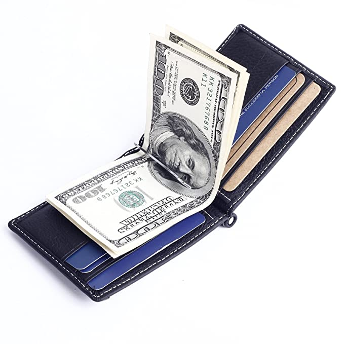 11bf6cd8578e Mens Slim Bifold Leather Front Pocket Wallet Money Clip with Coin Purse  (Black)