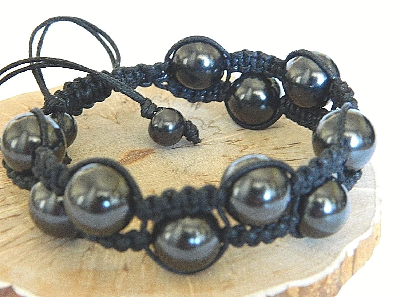 Shungite macrame beaded bracelet
