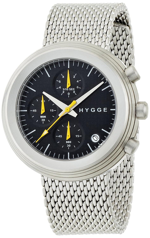Hygge 2312 Unisex Quarzuhr mit schwarzem Zifferblatt Chronograph-Anzeige und Silber Edelstahl Armband msm2312 C