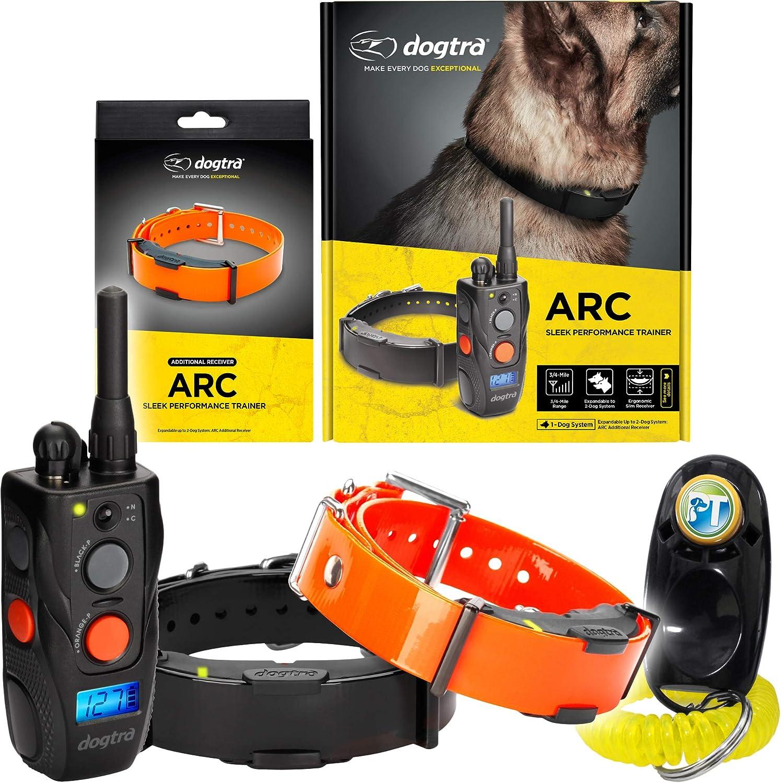 Dogtra ARC Remote Training Collar – 3 4 Mile Range, Waterproof, Rechargeable, Shock, Vibration – Includes PetsTEK Dog Training Clicker