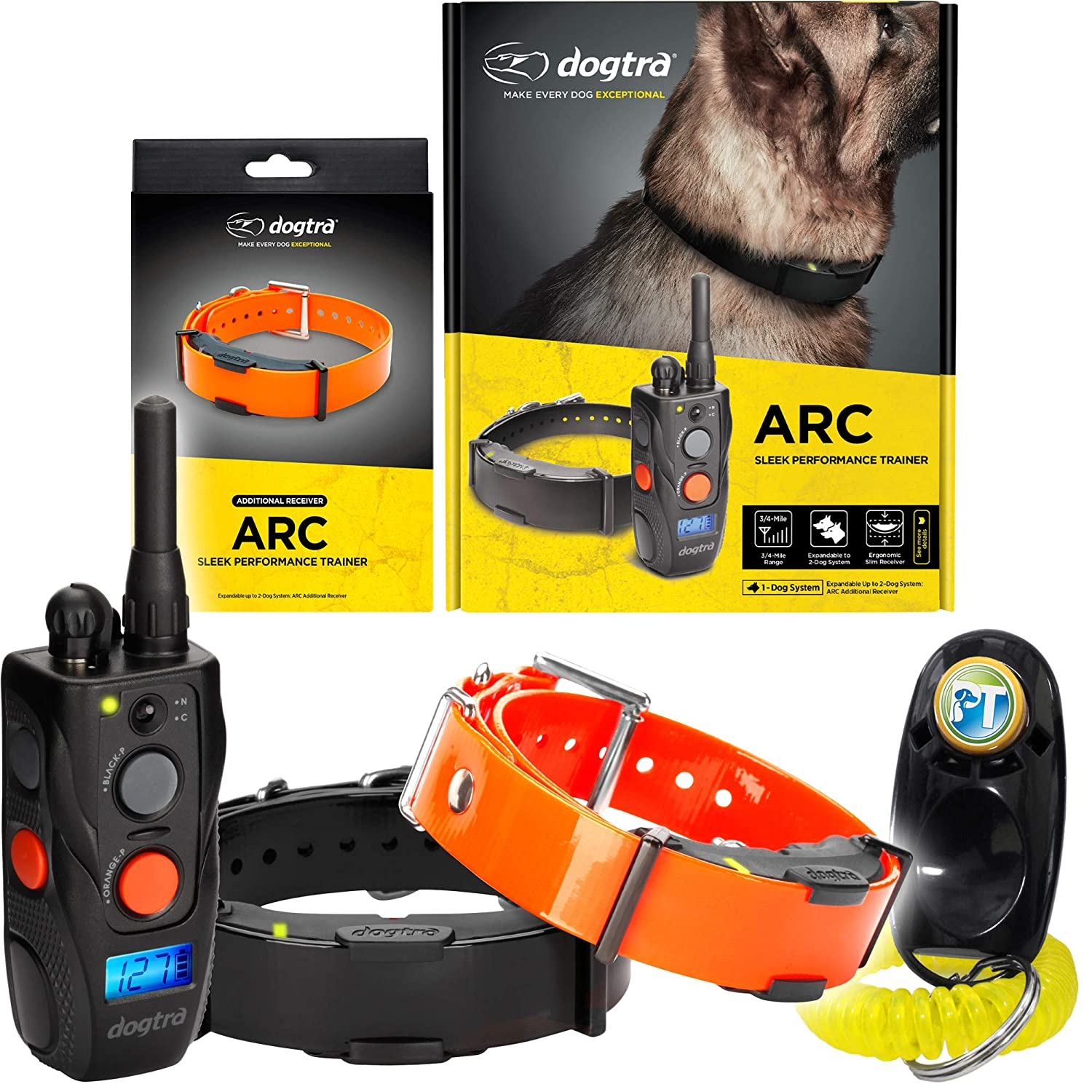 2 Dogs System ARC&RX Dogtra ARC Two Dogs Remote Training Collar 3 4 Mile Range, Waterproof, Rechargeable, Shock, Vibration Includes PetsTEK Dog Training Clicker