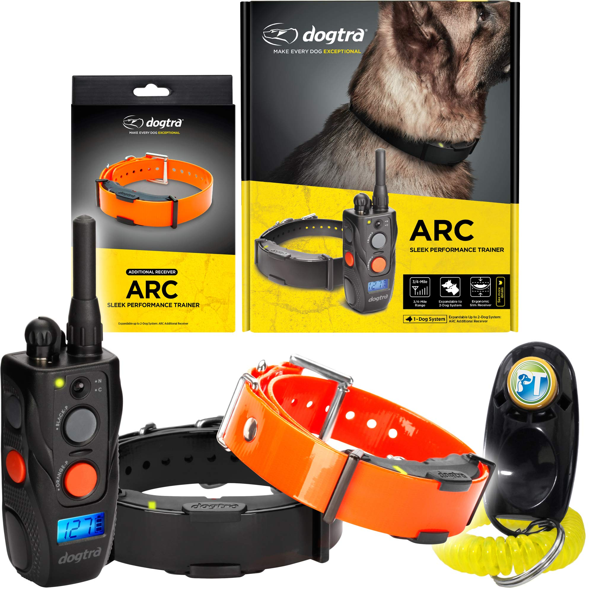Dogtra ARC Two Dogs Remote Training Collar - 3/4 Mile Range, Waterproof, Rechargeable, Shock, Vibration - Includes PetsTEK Dog Training Clicker