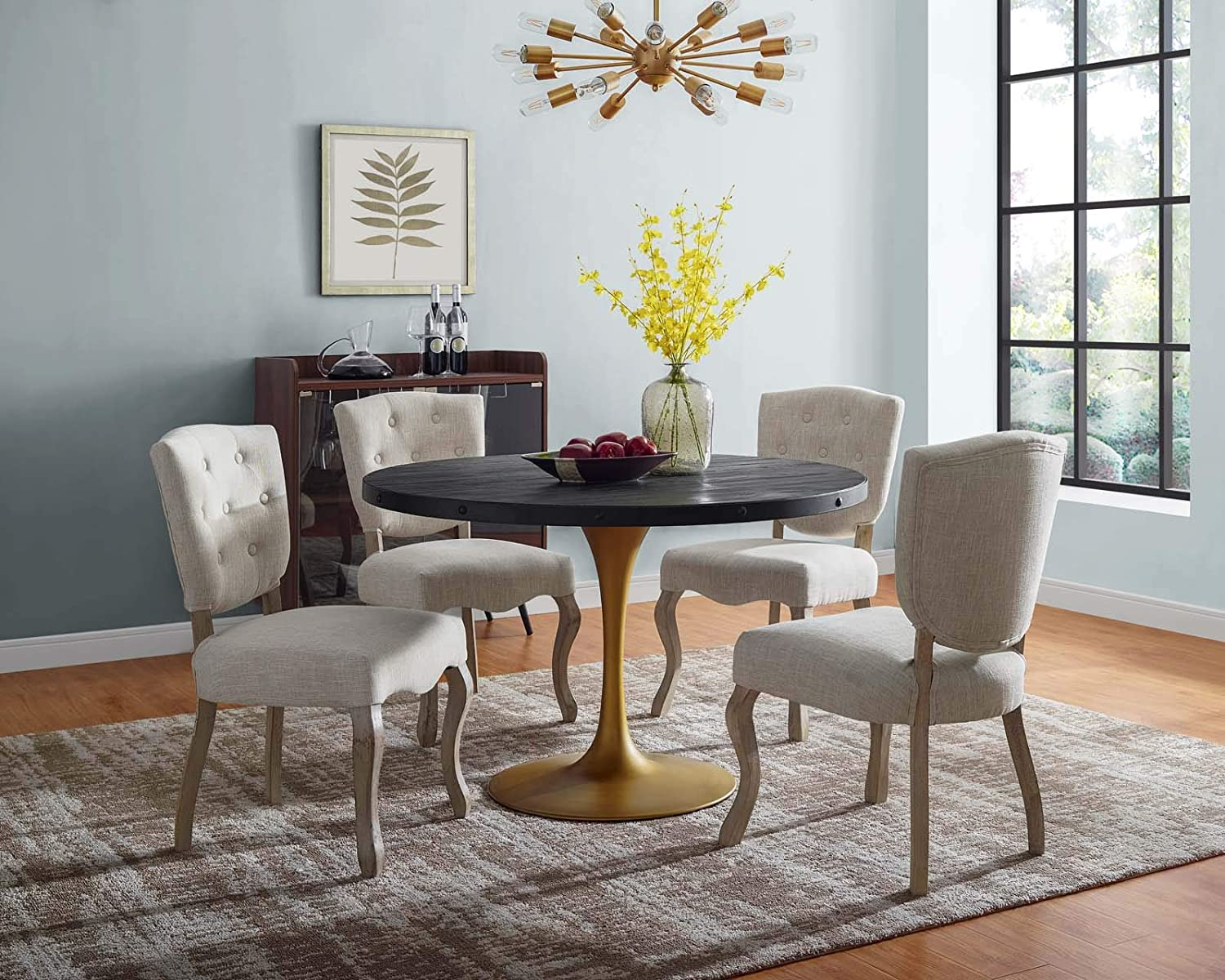 Amazon Com Modway Drive 48 Modern Farmhouse Dining Table With Round Pine Black Wood Top And Gold Steel Base In Black Gold Tables