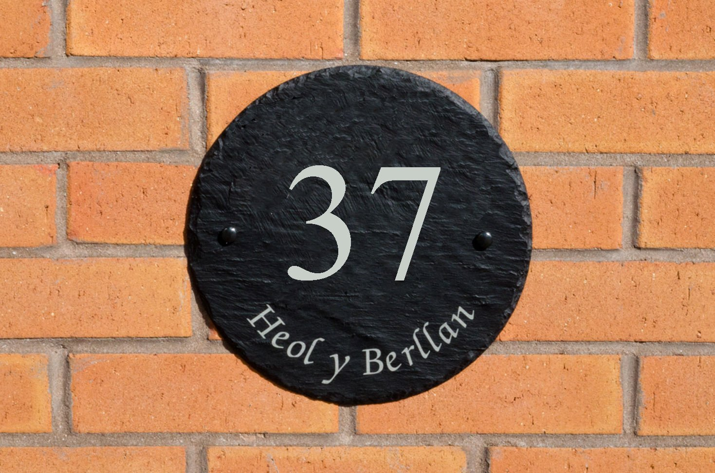 Personalised Large Round Slate Outdoor House/Home Sign Plaque, Engraved With Your House Number And Street Name County Engraving