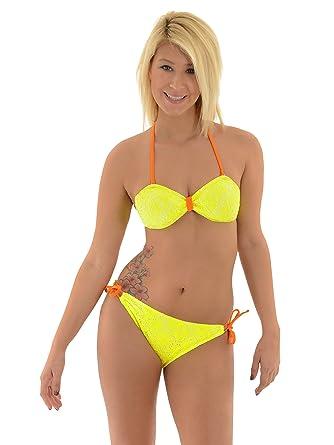 f597d547c6565 Amazon.com  InMocean Juniors Strapless Bathing Suit Neon Yellow String  Bikini 2 Piece Set  Clothing