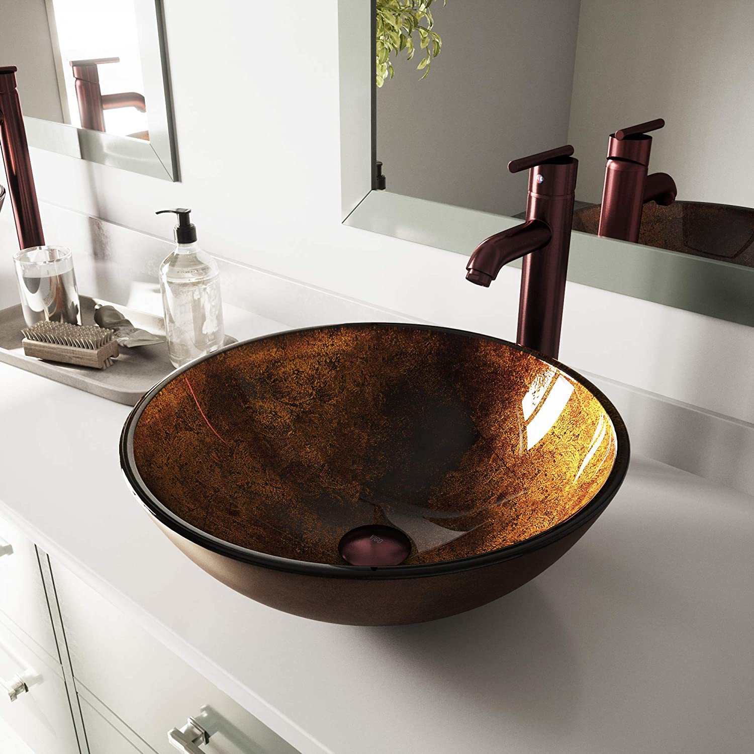 VIGO Russet Glass Vessel Bathroom Sink and Seville Vessel Faucet with Pop Up, Oil Rubbed Bronze
