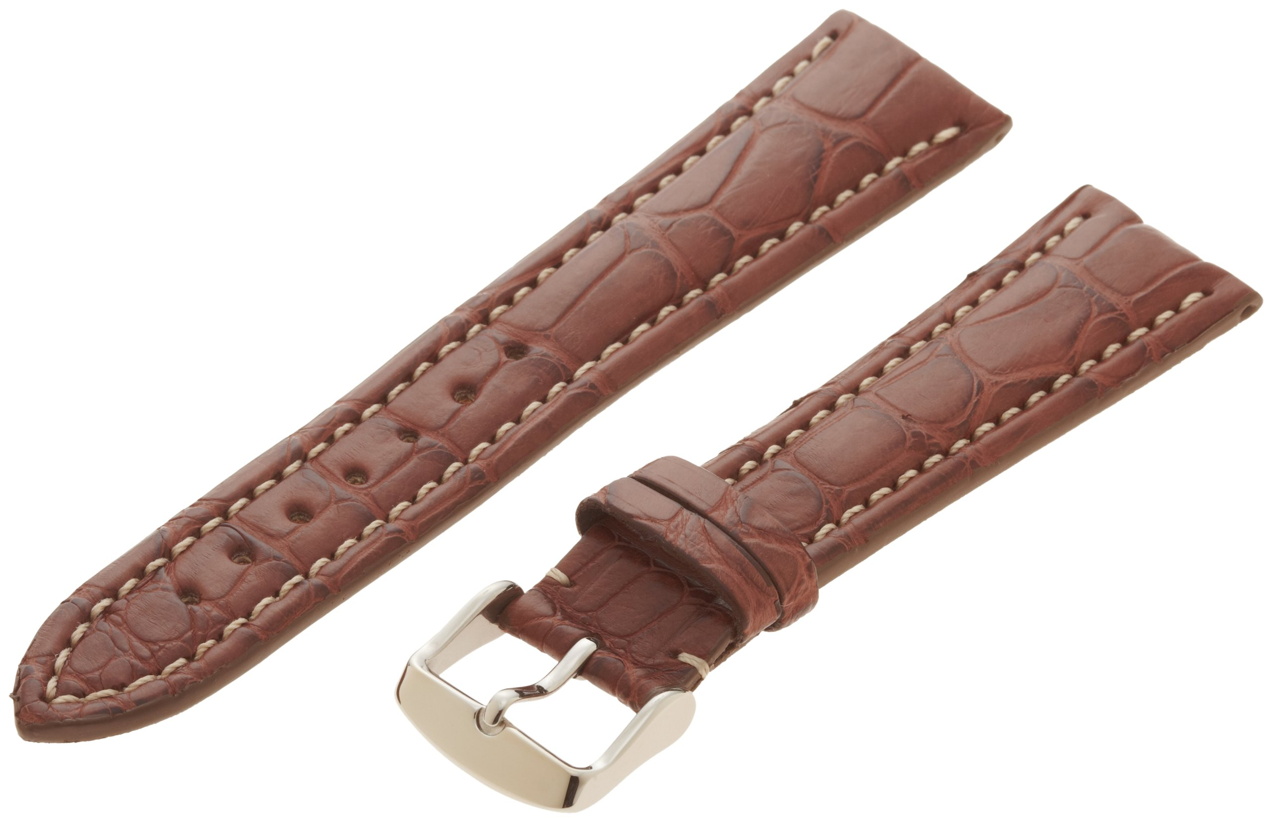 Hadley-Roma Men's MS2006RB-220 22-mm Chestnut Genuine Alligator Leather WatchStrap