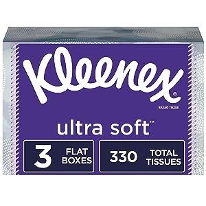 Kleenex Ultra Soft Facial Tissues, 3 Flat Boxes, 110 Tissues per Box, 330 Tissues Total