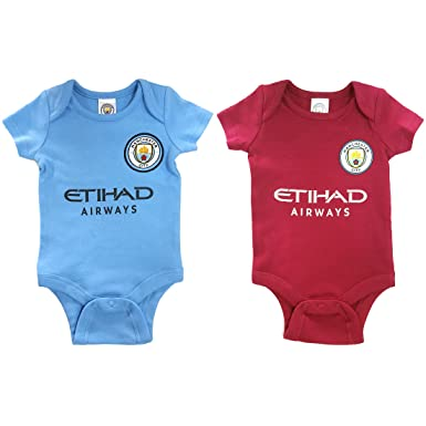 a5faf505185 Image Unavailable. Image not available for. Colour  Official Manchester  City Football Club New Season Home   Away Kit Twin Pack Bodysuit Baby Grows
