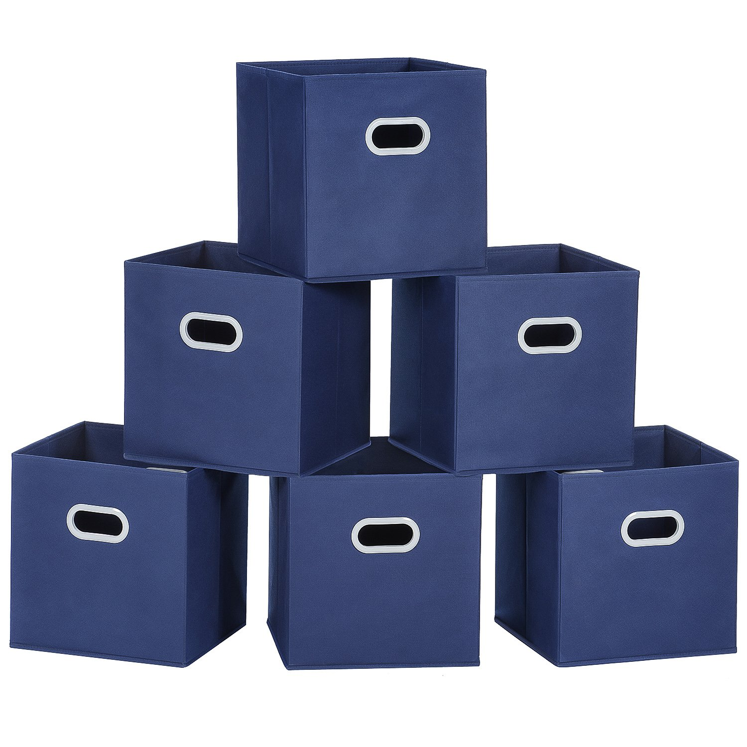 MaidMAX Cloth Storage Bins Cubes Baskets Containers with Dual Plastic Handles for Home Closet Bedroom Drawers Organizers, Flodable, Blue, Set of 6 by MaidMAX