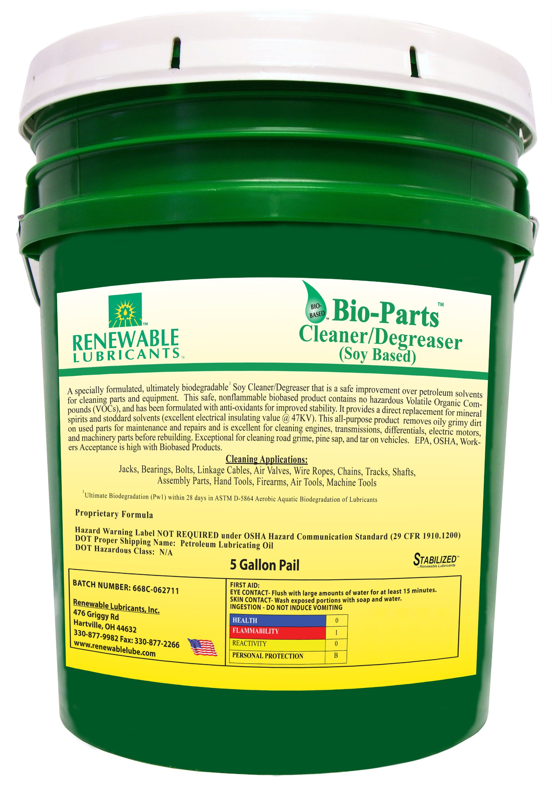 Renewable Lubricants Bio-Parts Soy Cleaner/Degreaser, 5 Gallon Pail