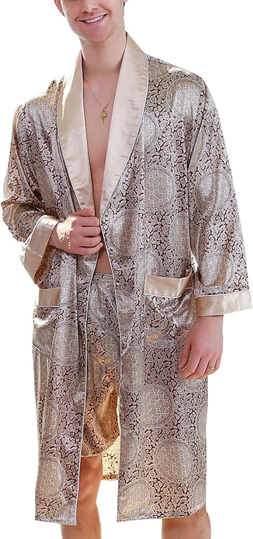 Men's Satin Robe with Shorts Luxurious Kimono Nightgown Pajamas Bathrobes