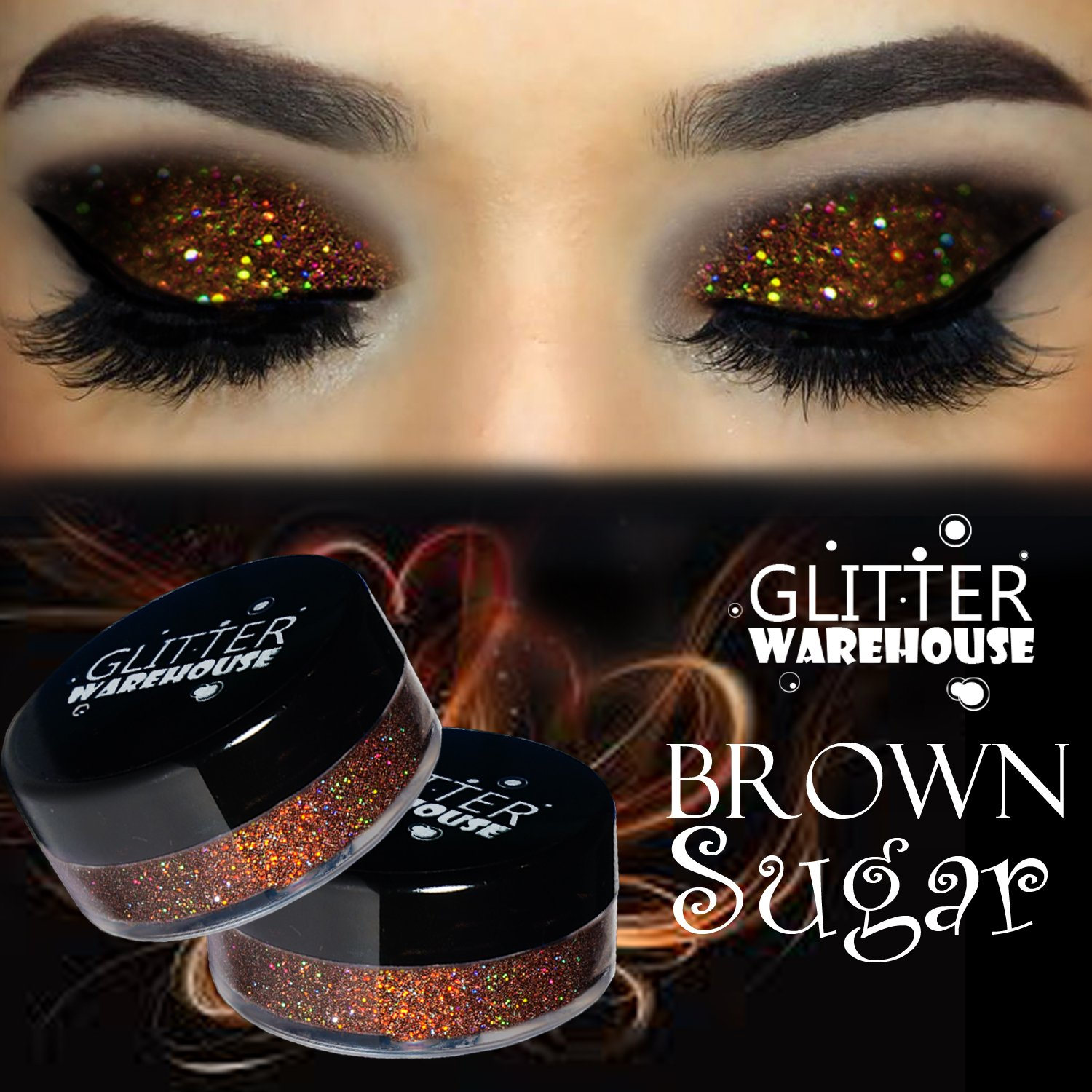 GlitterWarehouse Brown Sugar Holographic Loose Glitter Eye Shadow Powder (20g Jar)