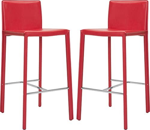 Safavieh Home Collection Jason Mid-Century Red Leather 30-inch Bar Stool Set of 2