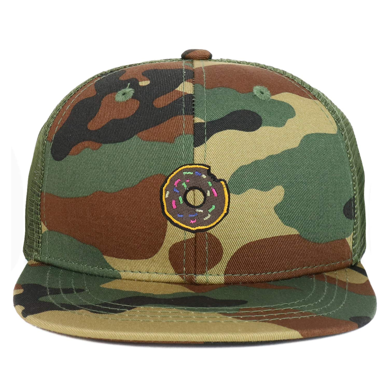 Armycrew Youth Kids Donut Patch Flat Bill Mesh Back Snapback Trucker Cap