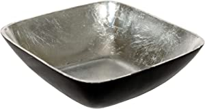Foreign Affairs Home Decor Antiqued Black Metal Bowl KENU with Silvered Interior. Perfect for displays.